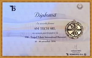S.C. SM TECH SRL - diploma Targul Tehnic International Bucuresti 2014