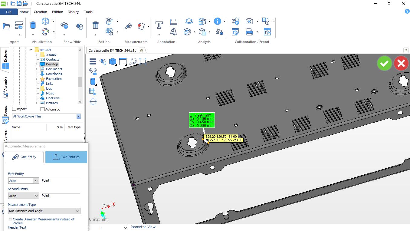 Piesa 3D sheetmetal viziualizare si masurare scule necesare